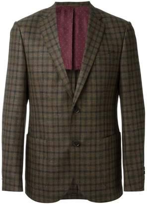 Fashion Clinic Timeless check print two-button blazer