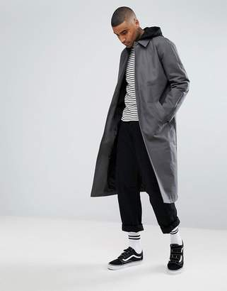 Asos DESIGN Drop Shoulder Trench Coat in Charcoal with Jersey Hood