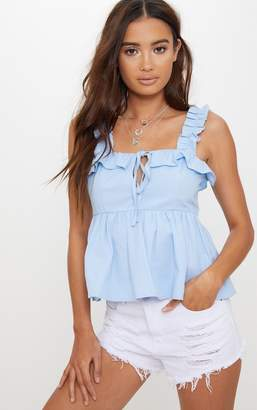 PrettyLittleThing Blue Frill Detail Key Hole Cami Blouse
