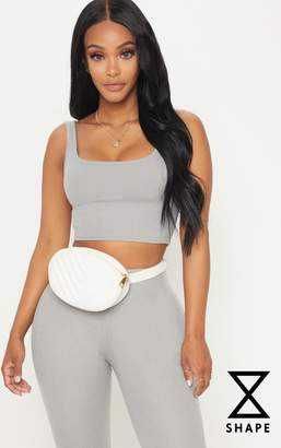PrettyLittleThing Shape Charcoal Ribbed Scoop Neck Crop Top