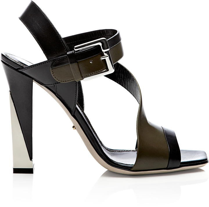Sergio Rossi Zed Block-Heel Leather Sandals