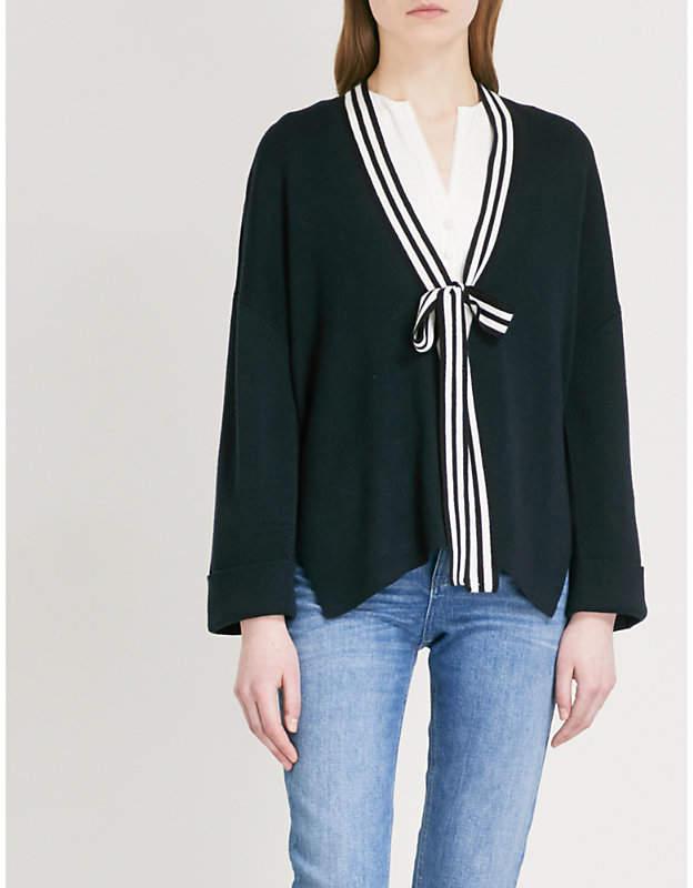 Neck-tie wool-blend cardigan