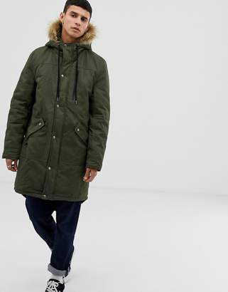Another Influence Faux Fur Hooded Fishtail Parka Jacket