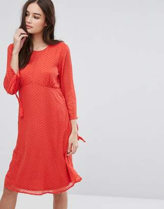Vila long sleeve spotty mesh swing midi dress in red