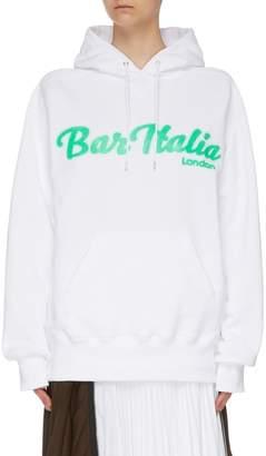 Sacai x Bar Italia textured slogan print hoodie