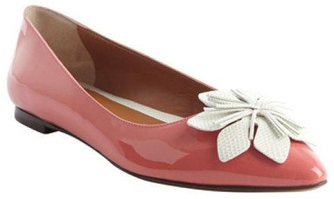 Fendi petunia and chalk leather flower detail pointed toe flats
