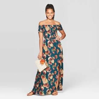 Xhilaration Women's Floral Print Short Sleeve Off the Shoulder Smocked Top Maxi Dress Teal