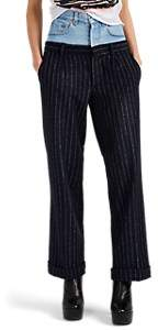 Couture Forte Dei Marmi Women's Striped Wool-Blend & Denim High-Rise Pants - Lt. Blue