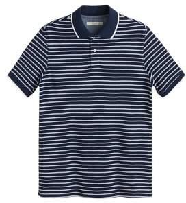 MANGO MAN Striped cotton piquA polo shirt