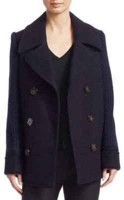 Derek Lam 10 Crosby Knit Sleeve Pea Coat