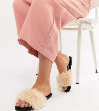 Asos Design Fuzz Wide Fit Faux Fur Sliders