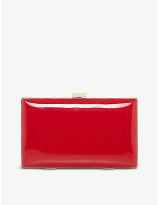 Dune Brocco faux-leather varnished clutch