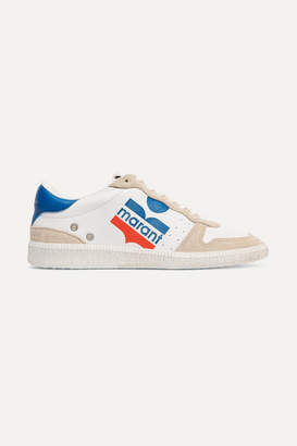 Isabel Marant Bulian Logo-print Suede-trimmed Leather Sneakers - White
