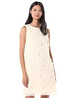 MSK Women's Sleeveless 3D Dress, Black/Ivory