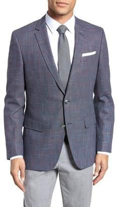 BOSS Hutsons Trim Fit Stretch Windowpane Wool Blend Sport Coat