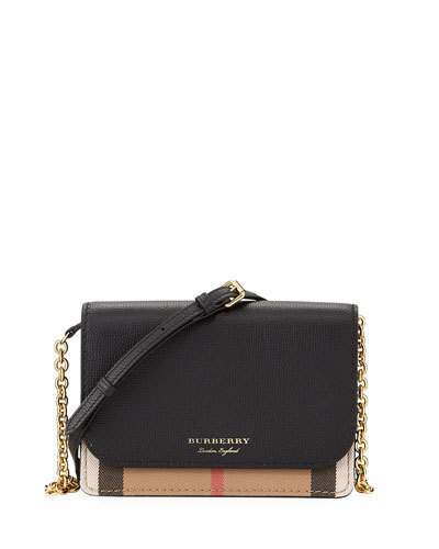 Burberry Hampshire Check/Leather Wallet On A Chain, Black