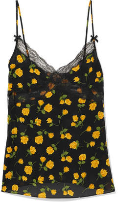 Michael Kors Lace-trimmed Floral-print Silk-crepe Camisole - Yellow