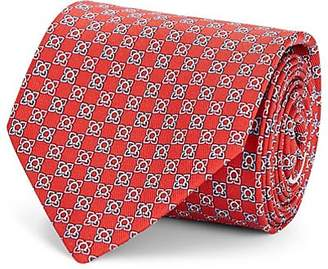 Salvatore Ferragamo Men's Gancio-Print Silk Twill Necktie - Red