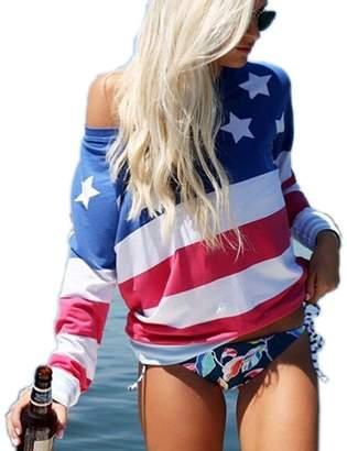 DAY Birger et Mikkelsen Enfei Independence Women Patriots American Flag Printed Long Sleeve T-Shirt