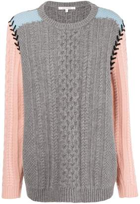Parker Chinti & contrast sleeve aran knit sweater
