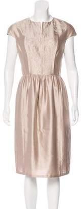Tory Burch Cap-Sleeve Midi Dress