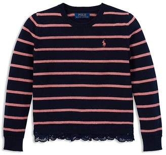 Polo Ralph Lauren Girls' Lace-Trimmed Striped Sweater - Big Kid
