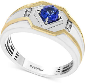 Effy Men Tanzanite (3/8 ct. t.w.) and Diamond Accent Ring in 14k Gold and White Gold