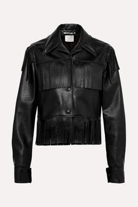 Stella McCartney Fringed Faux Textured-leather Jacket - Black