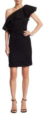 Halston Metallic Knit One- Shoulder Dress