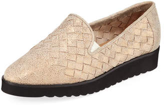 Sesto Meucci Naia Iconic Woven Leather Loafers, Pewter