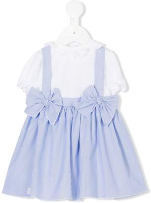 Le Bebé Enfant striped bow pleated dress