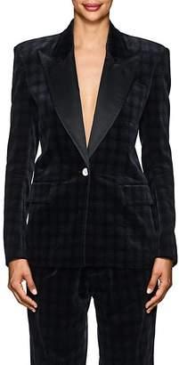 Faith Connexion Women's Plaid Velvety Cotton Boxy One-Button Blazer