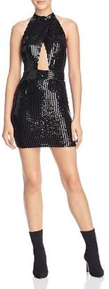 Tiger Mist Portia Sequin-Stripe Cutout Mini Dress