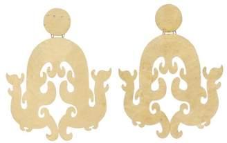Josie Natori Hammered Brass Swirl Earrings