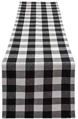 Buffalo David Bitton Yourtablecloth Plaid Checkered Table Runner Trendy & Modern Plaid Design 100% Cotton Tablerunner Elegant Décor For Indoor&Outdoor Events 14 x 108 Black and White