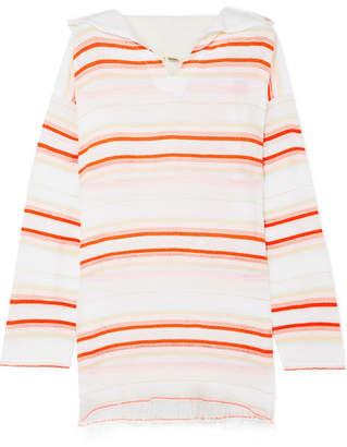 Lemlem Fiesta Frayed Striped Cotton-blend Gauze Hoodie - White