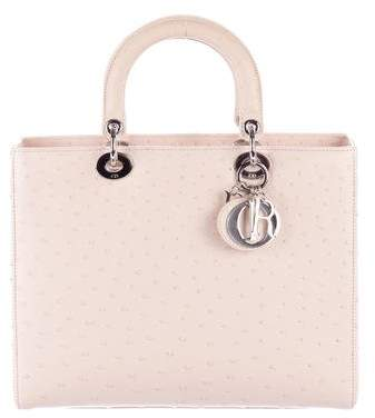 Christian Dior Ostrich Large Lady Dior Bag