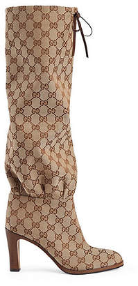 Gucci Women's Canvas Knee Boots - Brown