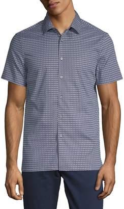 Perry Ellis Men's Geometric Short-Sleeve Button-Down Shirt