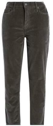 Mother Cropped Velvet Slim-Leg Pants