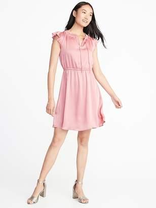 Old Navy Waist-Defined Crinkle-Chiffon Ruffle-Sleeve Dress for Women