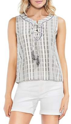 Vince Camuto Striped Sleeveless Lace-Up Top