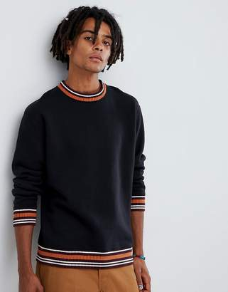 Wood Wood Nathan sweatshirt with striped trims in black