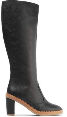 See by Chloe Scalloped Textured-Leather Knee Boots