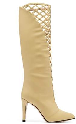 27943430780b Gucci Lattice Front Knee High Leather Boots - Womens - Cream