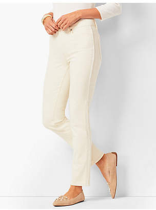 Talbots Beaded Tuxedo-Stripe High-Rise Straight-Leg Ankle Jeans - Natural