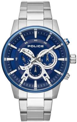 Police Avondale Blue And Silver Chronograph Dial Stainless Steel Bracelet Mens Watch