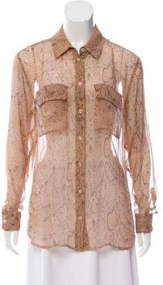 Equipment Long Sleeve Snakeskin Print Button-Up Top