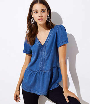 LOFT Chambray Peplum Top