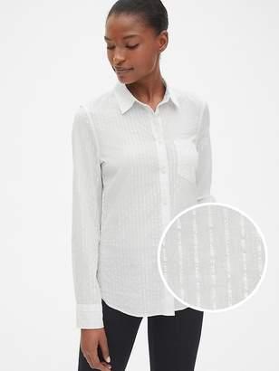 Gap Fitted Boyfriend Metallic Stripe Shirt